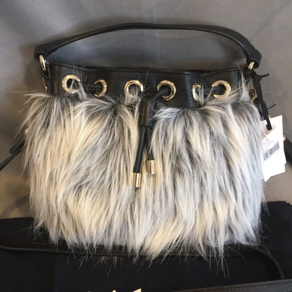 0ee18630d3b Milly Bags   Nwt Leather Faux Fur Black White Purse   Poshmark